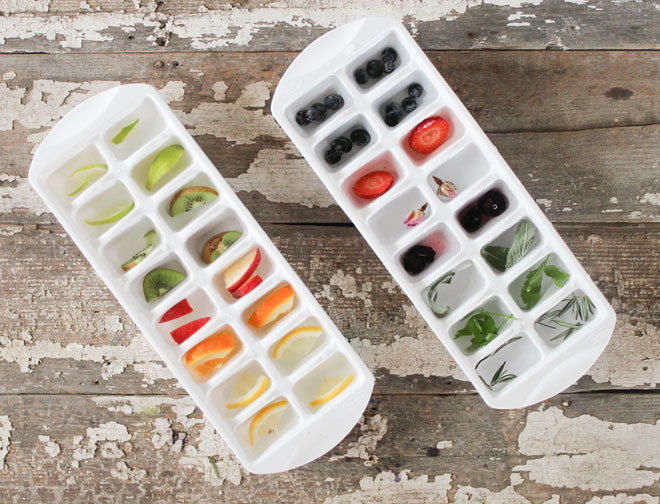 Fruit and herbs ice cube
